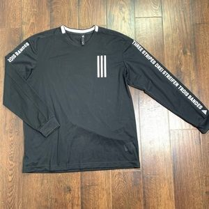 Adidas Mesh Long Sleeve Spell Out Logo Shirt Large